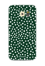 FOONCASE Samsung Galaxy S6 hoesje TPU Soft Case - Back Cover - POLKA COLLECTION / Stipjes / Stippen / Donker Groen