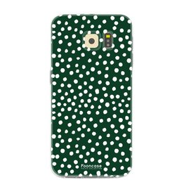 FOONCASE Samsung Galaxy S6 - POLKA COLLECTION / Donker Groen