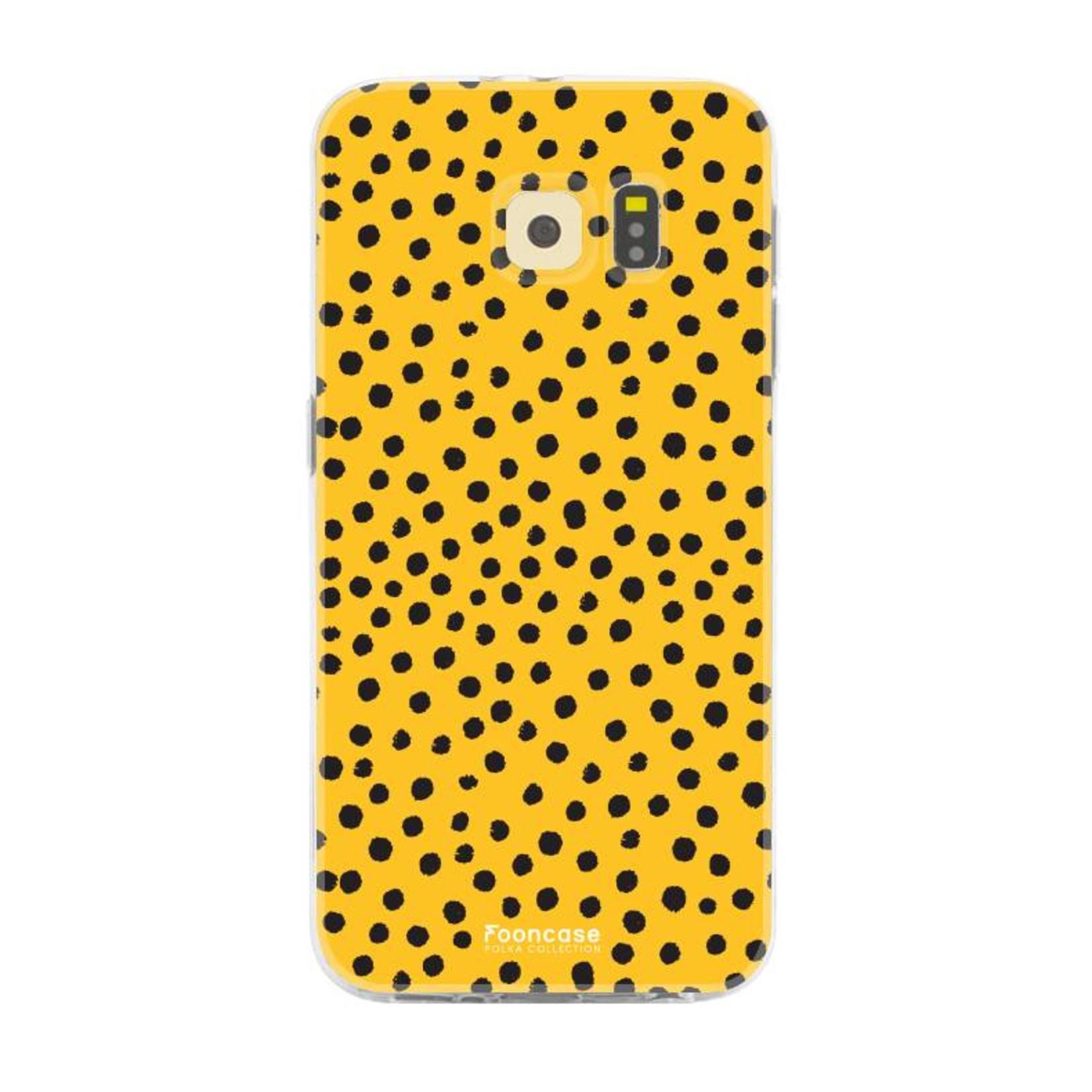 FOONCASE Samsung Galaxy S6 hoesje TPU Soft Case - Back Cover - POLKA COLLECTION / Stipjes / Stippen / Oker Geel