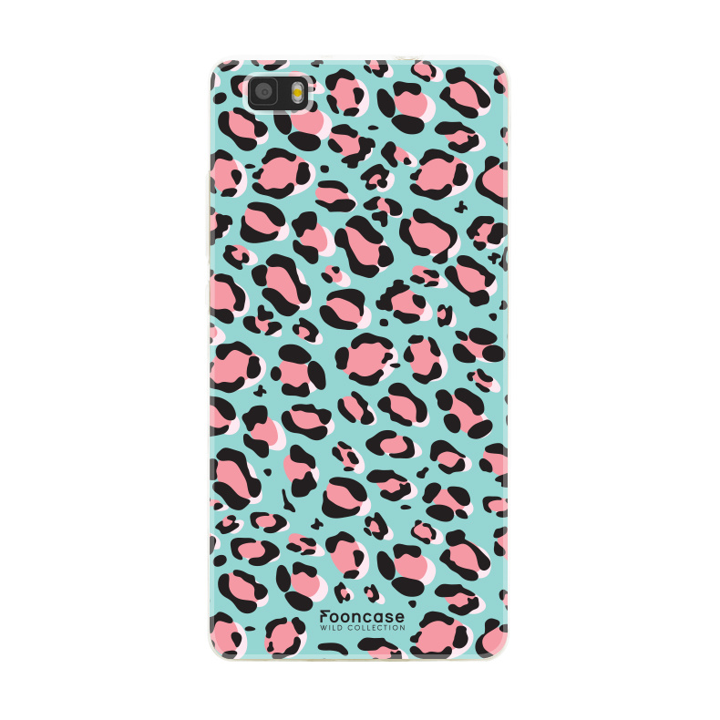 FOONCASE Huawei P8 Lite 2016 hoesje TPU Soft Case - Back Cover - WILD COLLECTION / Luipaard / Leopard print / Blauw