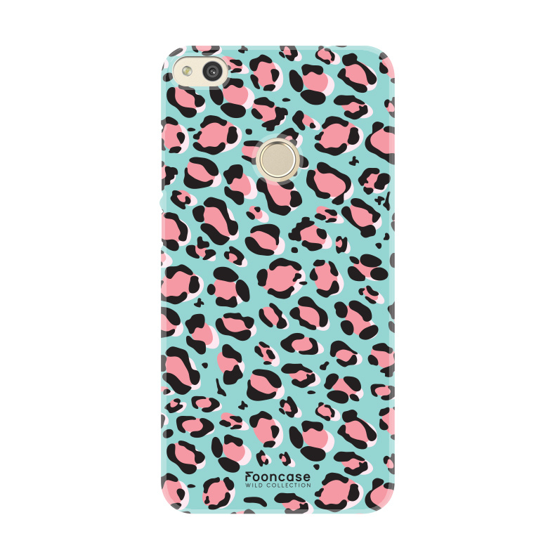 FOONCASE Huawei P8 Lite 2017 hoesje TPU Soft Case - Back Cover - WILD COLLECTION / Luipaard / Leopard print / Blauw