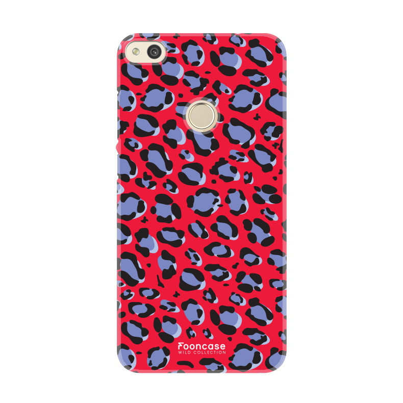 FOONCASE Huawei P8 Lite 2017 hoesje TPU Soft Case - Back Cover - WILD COLLECTION / Luipaard / Leopard print / Rood