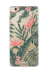FOONCASE Huawei P8 Lite 2017 hoesje TPU Soft Case - Back Cover - Tropical Desire / Bladeren / Roze
