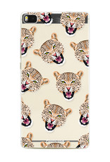 FOONCASE Huawei P8 hoesje TPU Soft Case - Back Cover - Cheeky Leopard / Luipaard hoofden