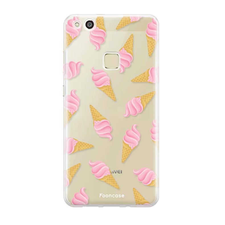 FOONCASE Huawei P10 Lite hoesje TPU Soft Case - Back Cover - Ice Ice Baby / Ijsjes / Roze ijsjes
