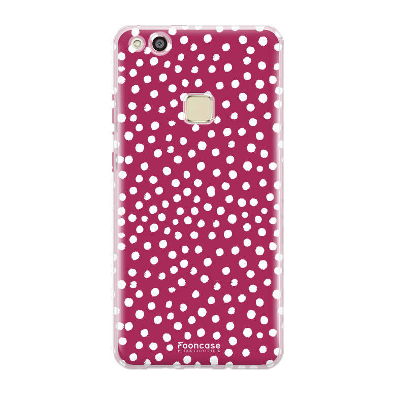 FOONCASE Huawei P10 Lite hoesje TPU Soft Case - Back Cover - POLKA COLLECTION / Stipjes / Stippen / Rood