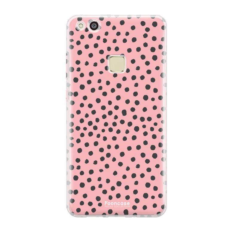 FOONCASE Huawei P10 Lite hoesje TPU Soft Case - Back Cover - POLKA COLLECTION / Stipjes / Stippen / Roze