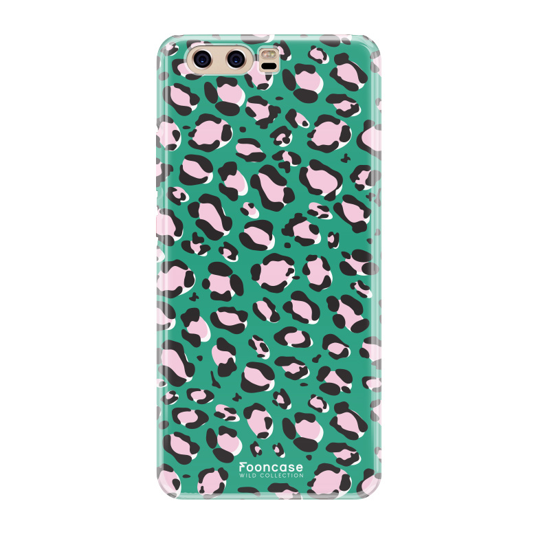 FOONCASE Huawei P10 hoesje TPU Soft Case - Back Cover - WILD COLLECTION / Luipaard / Leopard print / Groen