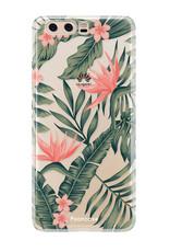 FOONCASE Huawei P10 hoesje TPU Soft Case - Back Cover - Tropical Desire / Bladeren / Roze