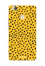 FOONCASE Huawei P9 Lite hoesje TPU Soft Case - Back Cover - POLKA COLLECTION / Stipjes / Stippen / Okergeel
