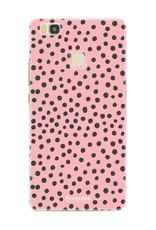 FOONCASE Huawei P9 Lite hoesje TPU Soft Case - Back Cover - POLKA COLLECTION / Stipjes / Stippen / Roze