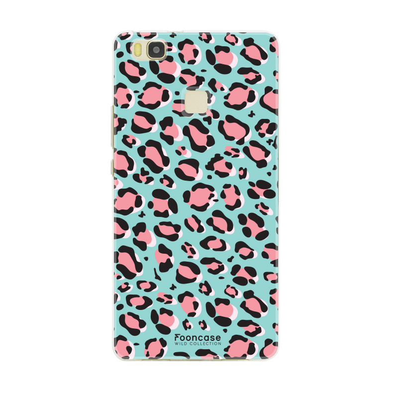FOONCASE Huawei P9 Lite hoesje TPU Soft Case - Back Cover - WILD COLLECTION / Luipaard / Leopard print / Blauw