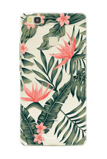FOONCASE Huawei P9 Lite hoesje TPU Soft Case - Back Cover - Tropical Desire / Bladeren / Roze