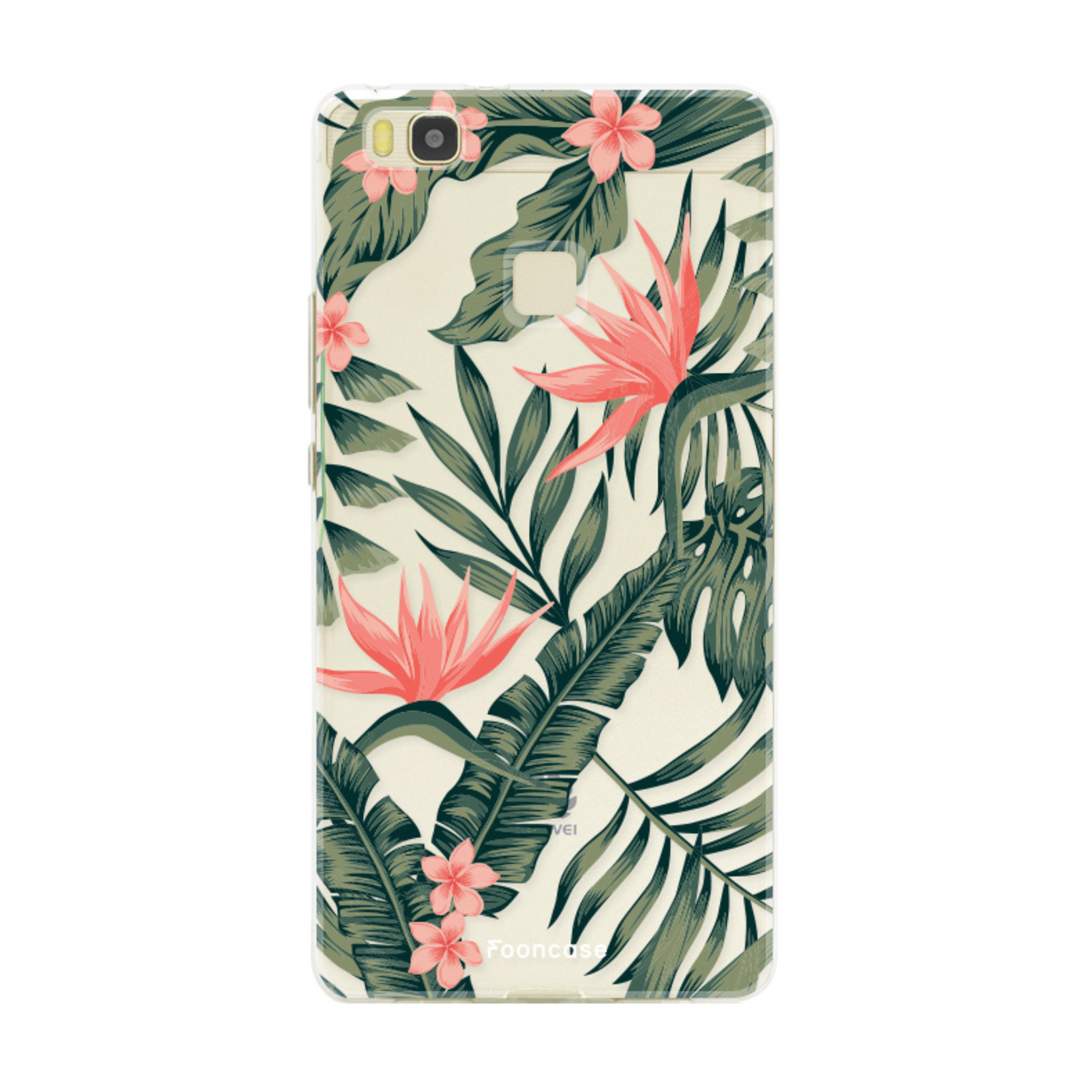 FOONCASE Huawei P9 Lite hoesje TPU Soft Case - Back Cover - Tropical Desire / Bladeren / Roze
