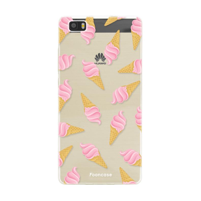 FOONCASE Huawei P8 Lite 2016 hoesje TPU Soft Case - Back Cover - Ice Ice Baby / Ijsjes / Roze ijsjes
