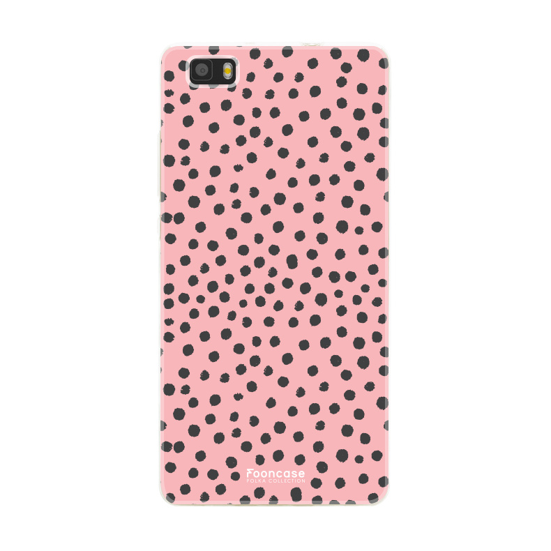 FOONCASE Huawei P8 Lite 2016 hoesje TPU Soft Case - Back Cover - POLKA COLLECTION / Stipjes / Stippen / Roze