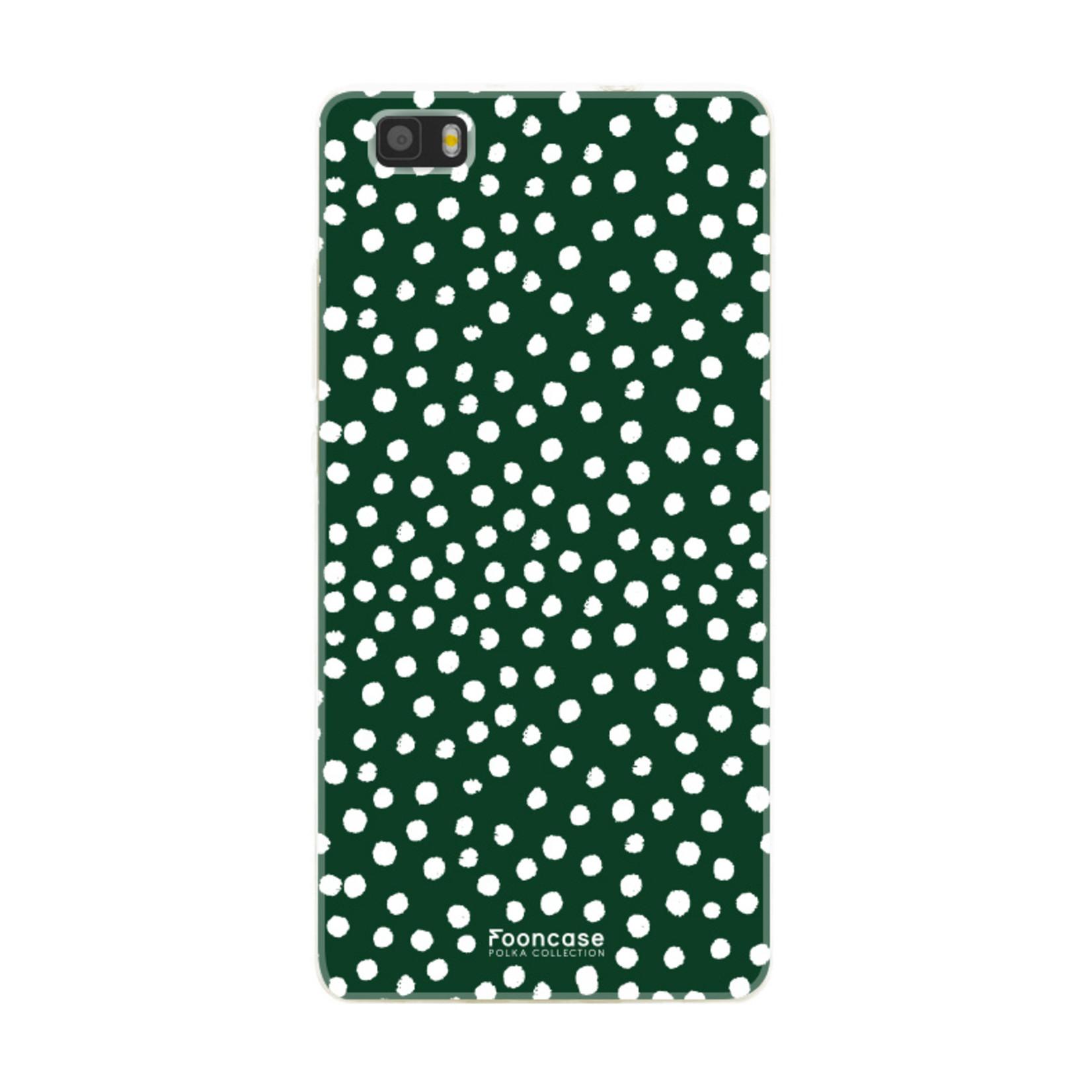 FOONCASE Huawei P8 Lite 2016 hoesje TPU Soft Case - Back Cover - POLKA COLLECTION / Stipjes / Stippen / Groen