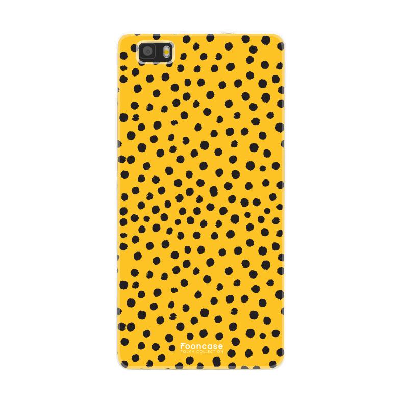 FOONCASE Huawei P8 Lite 2016 hoesje TPU Soft Case - Back Cover - POLKA COLLECTION / Stipjes / Stippen / Okergeel