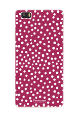 FOONCASE Huawei P8 Lite 2016 hoesje TPU Soft Case - Back Cover - POLKA COLLECTION / Stipjes / Stippen / Rood