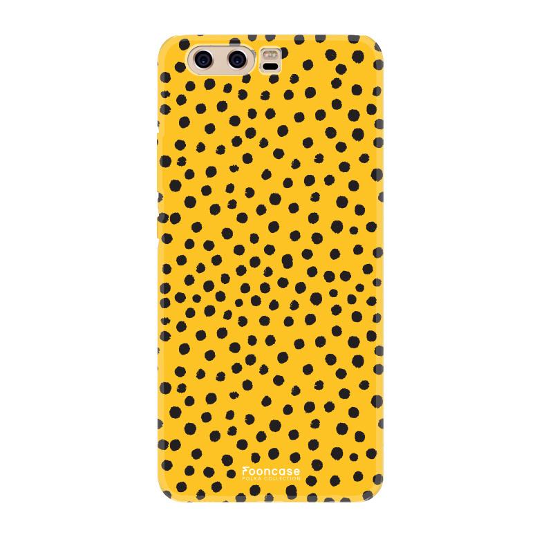 FOONCASE Huawei P10 hoesje TPU Soft Case - Back Cover - POLKA COLLECTION / Stipjes / Stippen / Okergeel