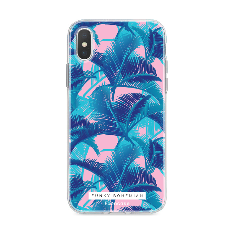 FOONCASE iPhone XS hoesje TPU Soft Case - Back Cover - Funky Bohemian / Blauw Roze Bladeren