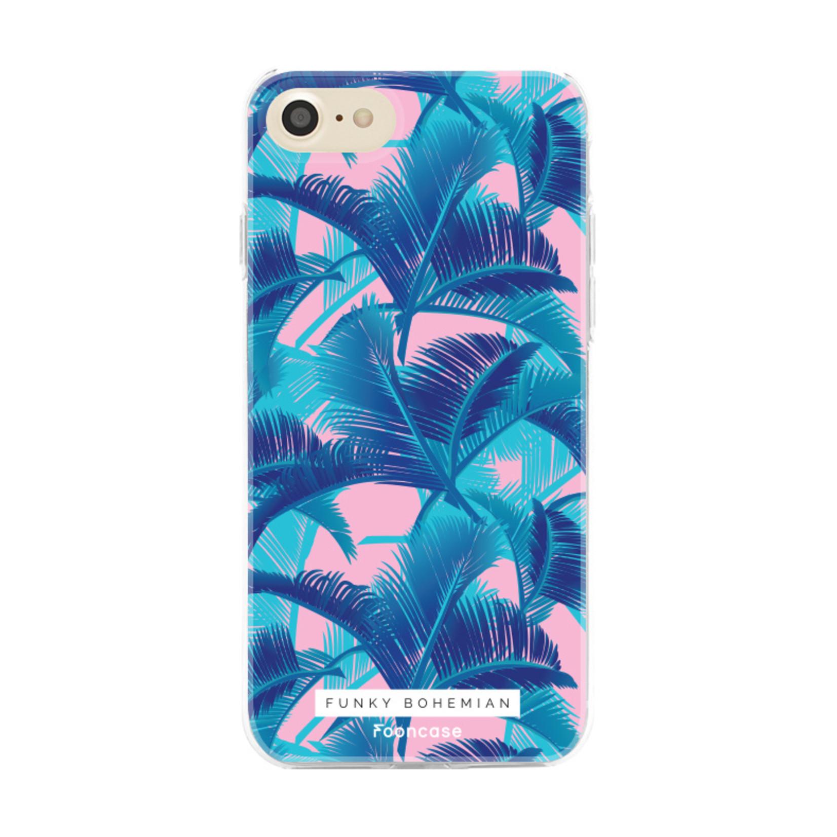 FOONCASE iPhone 8 hoesje TPU Soft Case - Back Cover - Funky Bohemian / Blauw Roze Bladeren