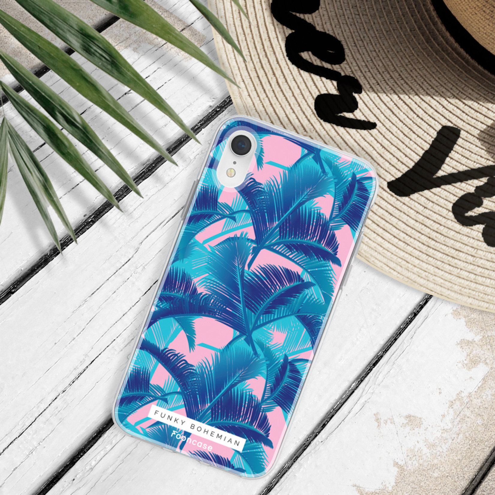 FOONCASE iPhone XS Max hoesje TPU Soft Case - Back Cover - Funky Bohemian / Blauw Roze Bladeren