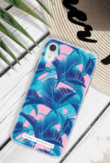 FOONCASE iPhone 8 hoesje TPU Soft Case - Back Cover - Funky Bohemian / Blauw Roze Bladeren