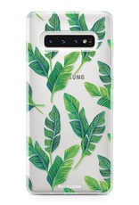 FOONCASE Samsung Galaxy S10 Plus hoesje TPU Soft Case - Back Cover - Banana leaves / Bananen bladeren