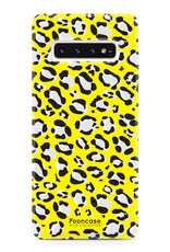 FOONCASE Samsung Galaxy S10 Plus hoesje TPU Soft Case - Back Cover - WILD COLLECTION / Luipaard / Leopard print / Geel