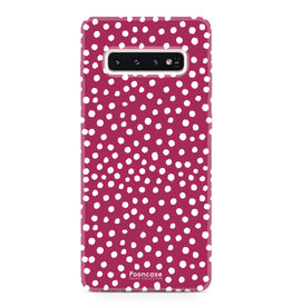 FOONCASE Samsung Galaxy S10 Plus - POLKA COLLECTION / Rood