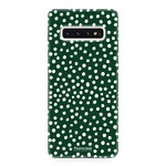 FOONCASE Samsung Galaxy S10 Plus - POLKA COLLECTION / Dark green