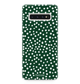 FOONCASE Samsung Galaxy S10 Plus - POLKA COLLECTION / Donker Groen