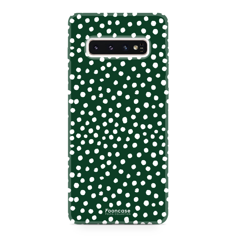 FOONCASE Samsung Galaxy S10 Plus hoesje TPU Soft Case - Back Cover - POLKA COLLECTION / Stipjes / Stippen / Donker Groen