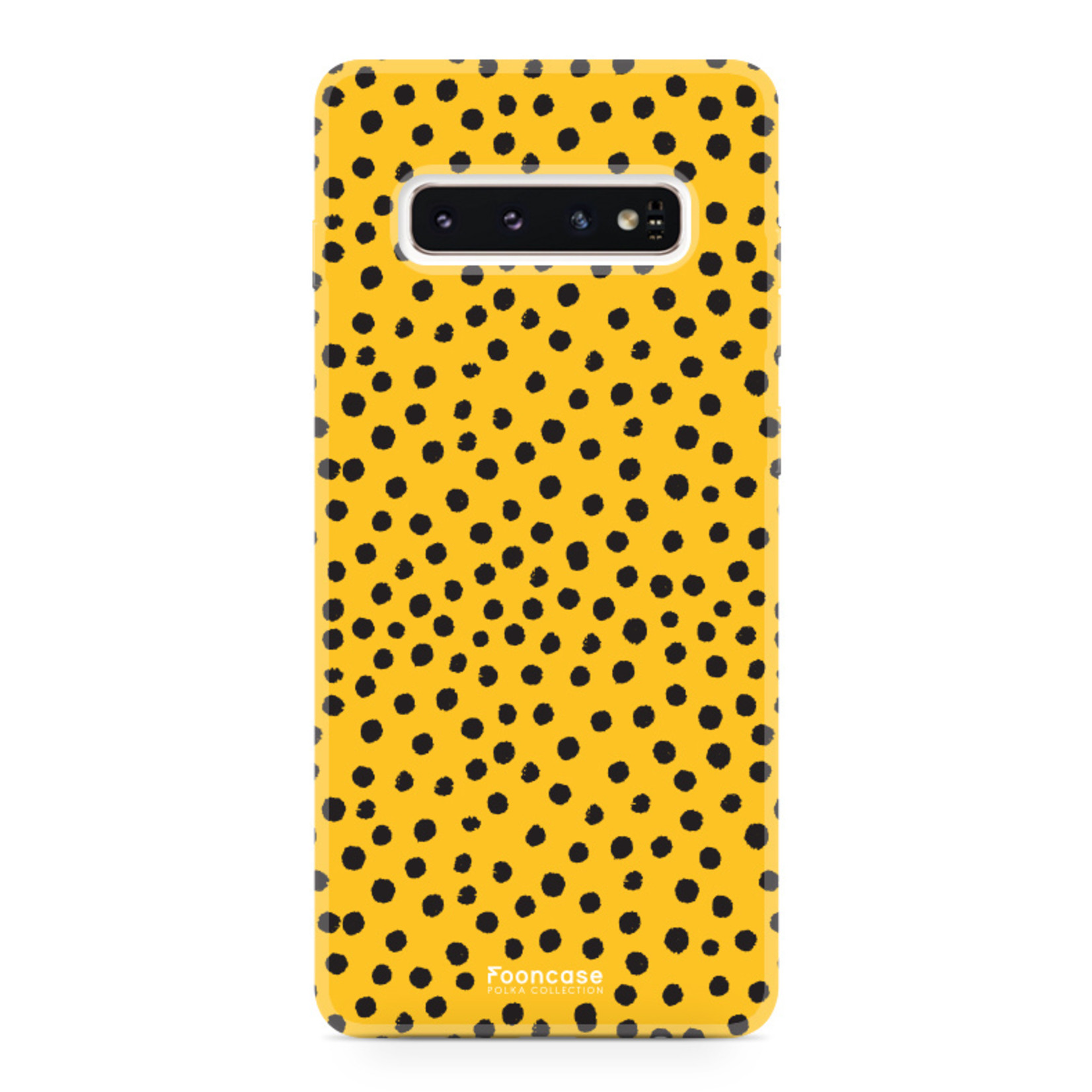 FOONCASE Samsung Galaxy S10 Plus hoesje TPU Soft Case - Back Cover - POLKA COLLECTION / Stipjes / Stippen / Oker Geel