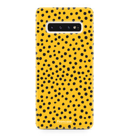 FOONCASE Samsung Galaxy S10 Plus - POLKA COLLECTION / Oker Geel