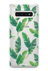 FOONCASE Samsung Galaxy S10 hoesje TPU Soft Case - Back Cover - Banana leaves / Bananen bladeren
