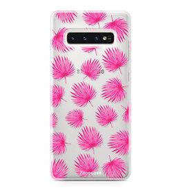 FOONCASE Samsung Galaxy S10 - Pink leaves
