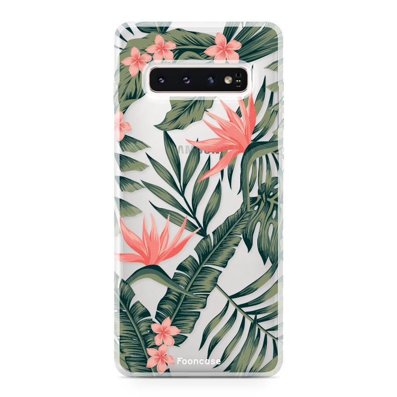 FOONCASE Samsung Galaxy S10 hoesje TPU Soft Case - Back Cover - Tropical Desire / Bladeren / Roze