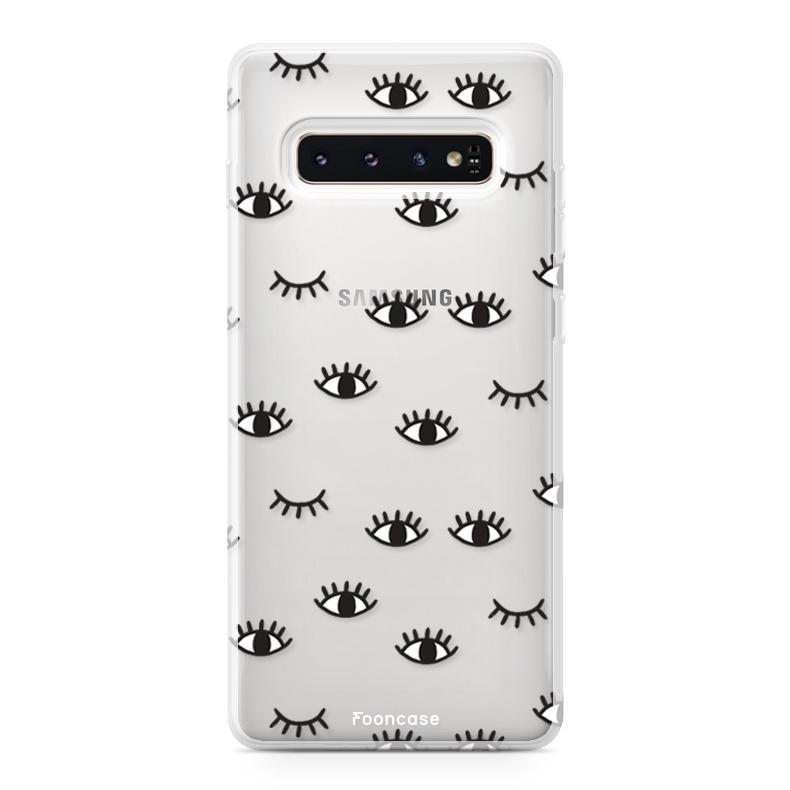 FOONCASE Samsung Galaxy S10 hoesje TPU Soft Case - Back Cover - Eyes / Ogen