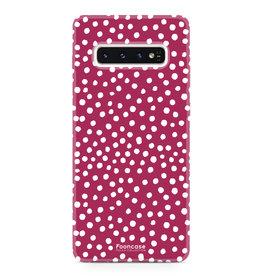 FOONCASE Samsung Galaxy S10 - POLKA COLLECTION / Rosso