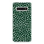 FOONCASE Samsung Galaxy S10 - POLKA COLLECTION / Dark green