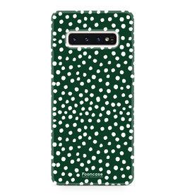 FOONCASE Samsung Galaxy S10 - POLKA COLLECTION / Verde scuro