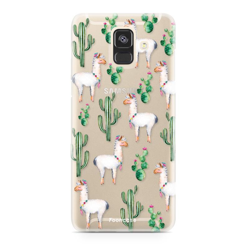 FOONCASE Samsung Galaxy A6 2018 hoesje TPU Soft Case - Back Cover - Alpaca / Lama