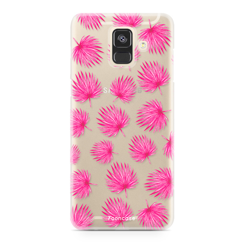 FOONCASE Samsung Galaxy A6 2018 hoesje TPU Soft Case - Back Cover - Pink leaves / Roze bladeren