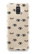 FOONCASE Samsung Galaxy A6 2018 hoesje TPU Soft Case - Back Cover - Eyes / Ogen
