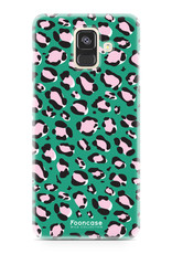 FOONCASE Samsung Galaxy A6 2018 hoesje TPU Soft Case - Back Cover - WILD COLLECTION / Luipaard / Leopard print / Groen