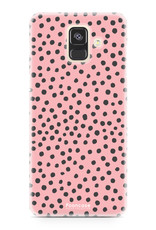 FOONCASE Samsung Galaxy A6 2018 hoesje TPU Soft Case - Back Cover - POLKA COLLECTION / Stipjes / Stippen / Roze