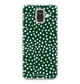 FOONCASE Samsung Galaxy A6 2018 - POLKA COLLECTION / Donker Groen