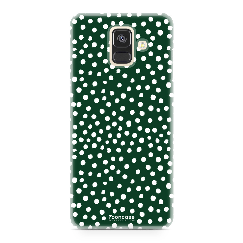 FOONCASE Samsung Galaxy A6 2018 hoesje TPU Soft Case - Back Cover - POLKA COLLECTION / Stipjes / Stippen / Donker Groen